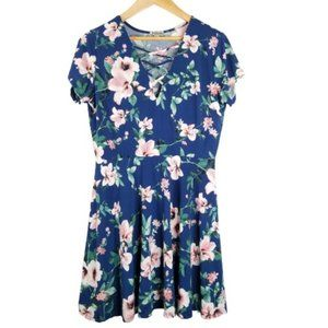 4/$25 J for Justify Navy Floral Swing Dress